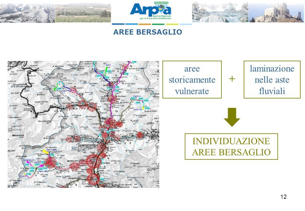 + aree storicamente vulnerate laminazione nelle aste fluviali