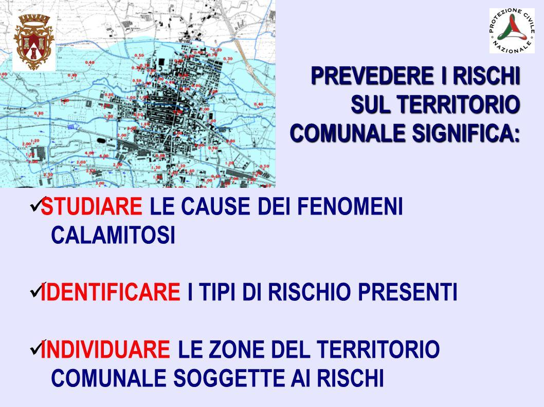 PREVEDERE I RISCHI SUL TERRITORIO. COMUNALE SIGNIFICA: STUDIARE LE CAUSE DEI FENOMENI. CALAMITOSI.