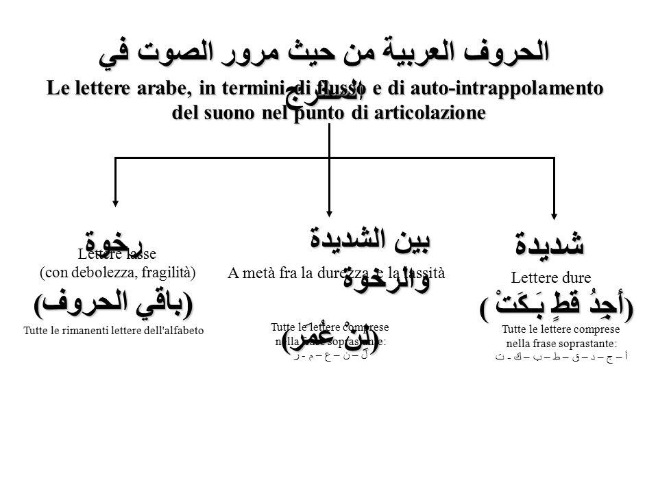 شديدة الحروف العربية من حيث مرور الصوت في المخرج بين الشديدة والرخوة