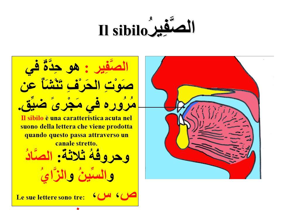 وحروفُهُ ثلاثةٌ: الصَّادُ Le sue lettere sono tre: ص، س، ز