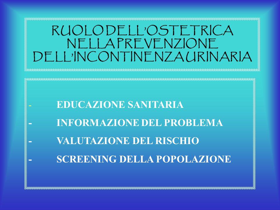 RUOLO DELL'OSTETRICA NELLA PREVENZIONE DELL'INCONTINENZA URINARIA