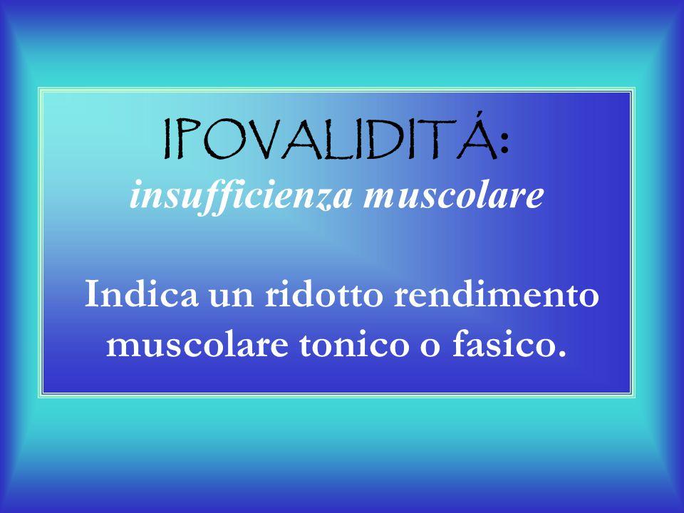 IPOVALIDITÁ: insufficienza muscolare Indica un ridotto rendimento muscolare tonico o fasico.