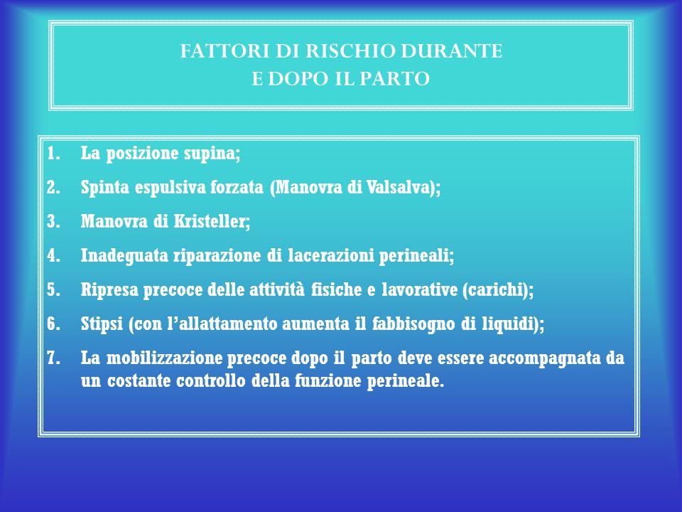 FATTORI DI RISCHIO DURANTE E DOPO IL PARTO