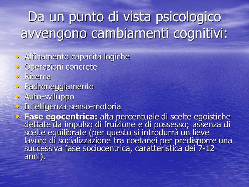 Da un punto di vista psicologico avvengono cambiamenti cognitivi: