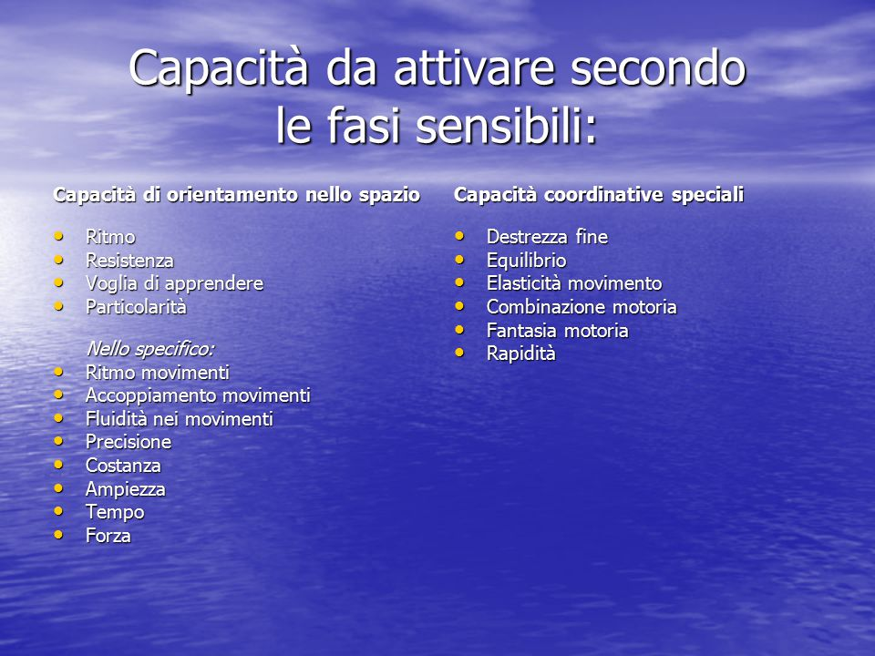 Capacità da attivare secondo le fasi sensibili: