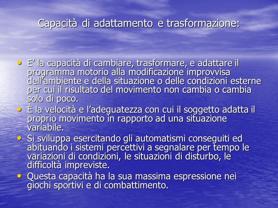 Capacità di adattamento e trasformazione: