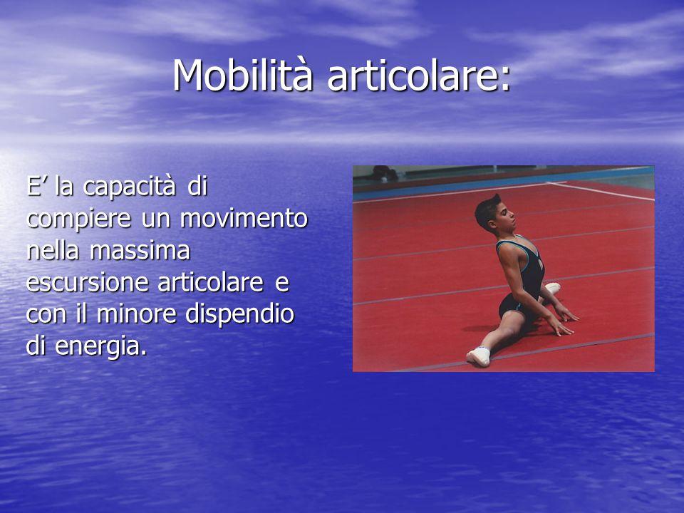 Mobilità articolare: E' la capacità di compiere un movimento nella massima escursione articolare e con il minore dispendio di energia.