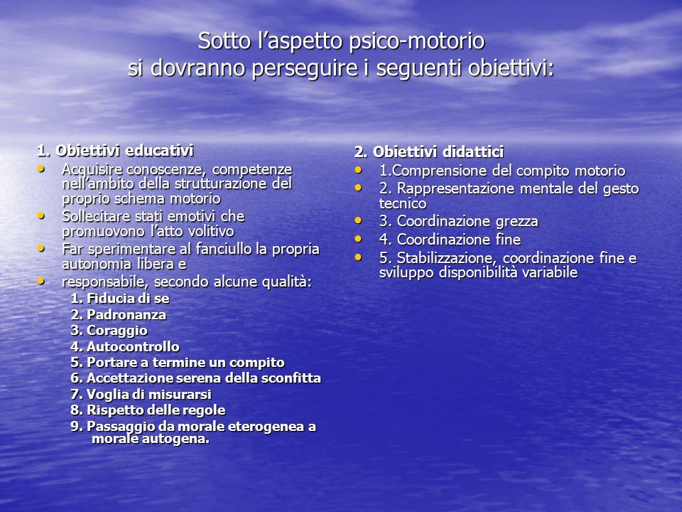 Sotto l'aspetto psico-motorio si dovranno perseguire i seguenti obiettivi: