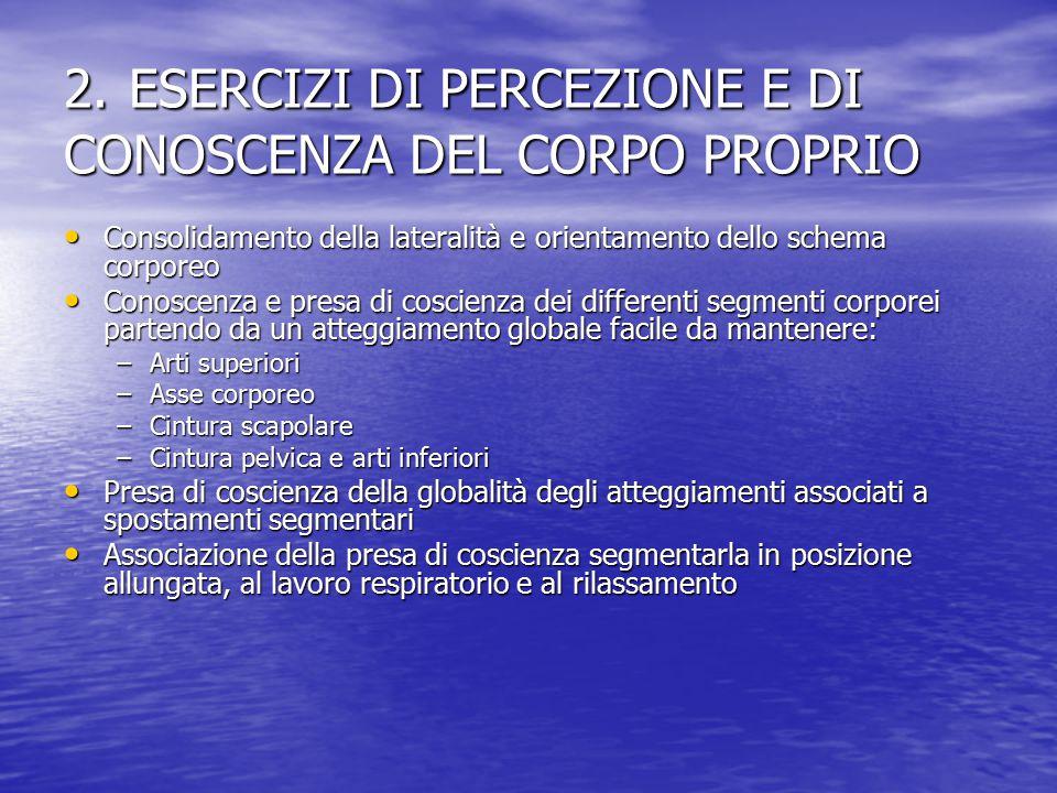 2. ESERCIZI DI PERCEZIONE E DI CONOSCENZA DEL CORPO PROPRIO