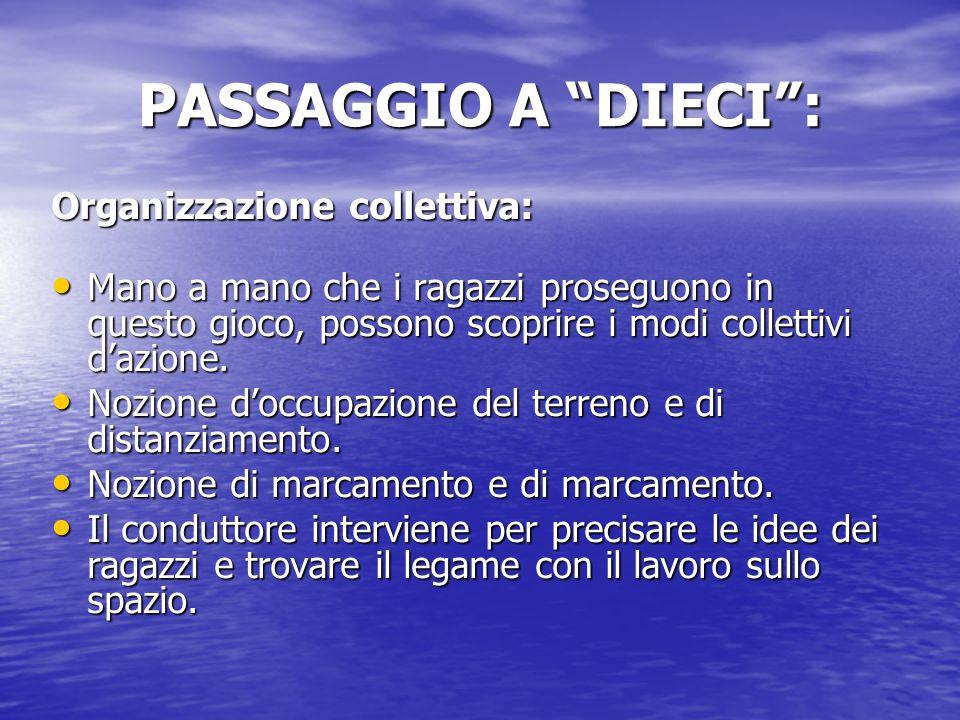 PASSAGGIO A DIECI : Organizzazione collettiva: