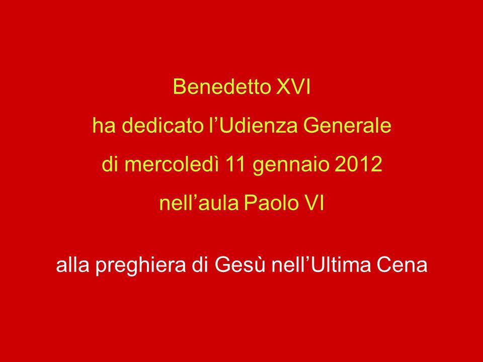 ha dedicato l'Udienza Generale di mercoledì 11 gennaio 2012