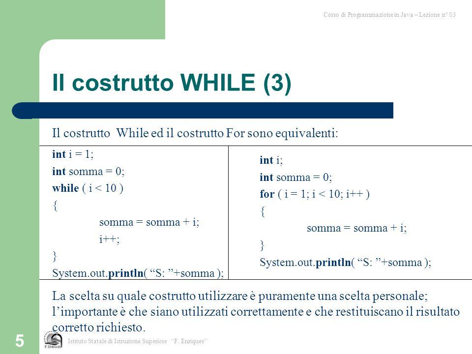 Corso di Programmazione in Java – Lezione n° 03
