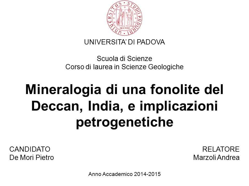 Corso di laurea in Scienze Geologiche