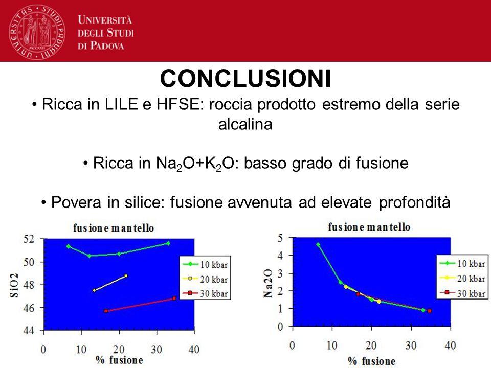 CONCLUSIONI Ricca in LILE e HFSE: roccia prodotto estremo della serie alcalina. Ricca in Na2O+K2O: basso grado di fusione.