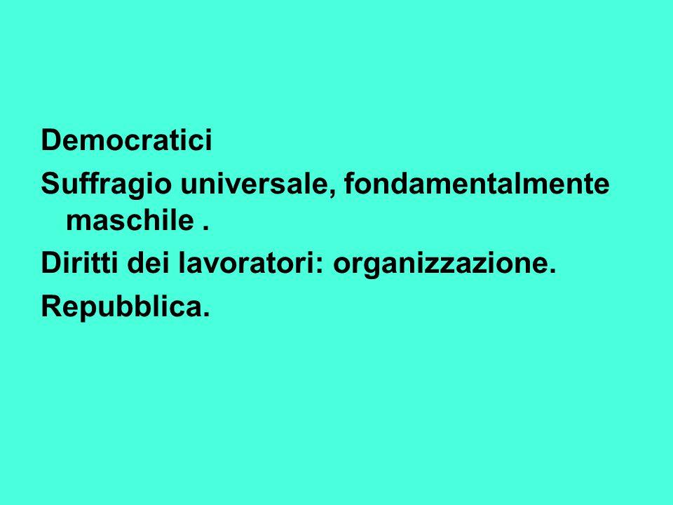Democratici Suffragio universale, fondamentalmente maschile . Diritti dei lavoratori: organizzazione.