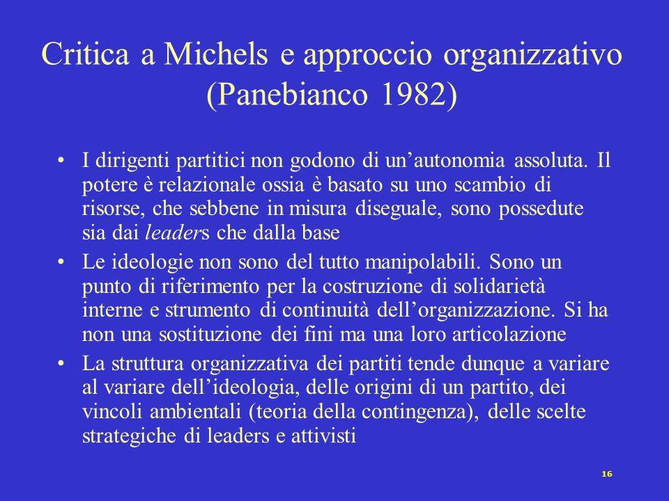 Critica a Michels e approccio organizzativo (Panebianco 1982)