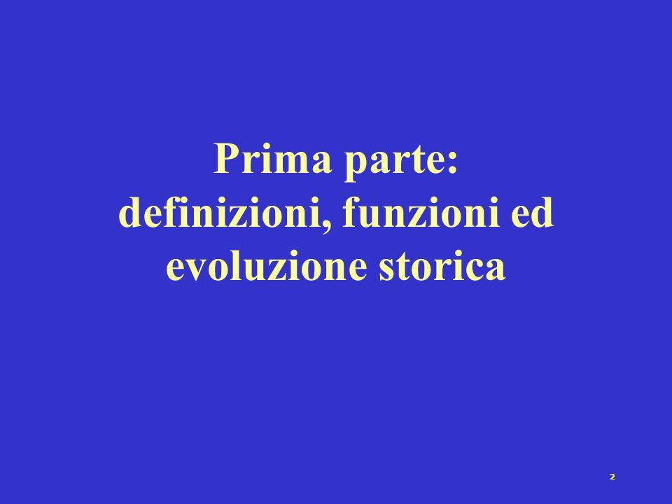 Prima parte: definizioni, funzioni ed evoluzione storica