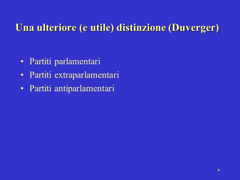Una ulteriore (e utile) distinzione (Duverger)