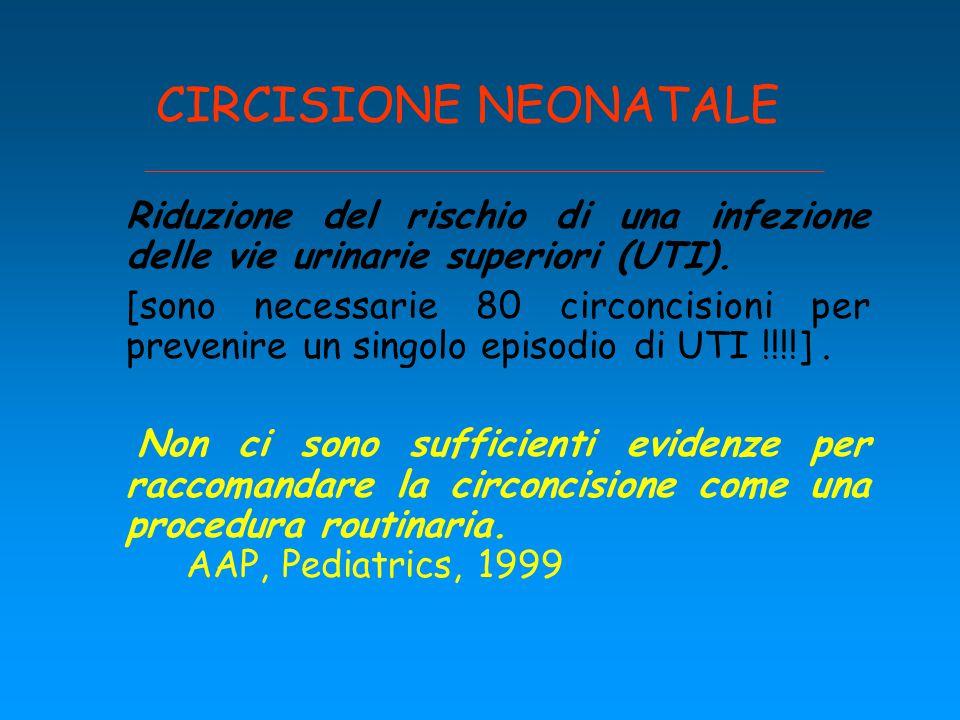 CIRCISIONE NEONATALE Riduzione del rischio di una infezione delle vie urinarie superiori (UTI).