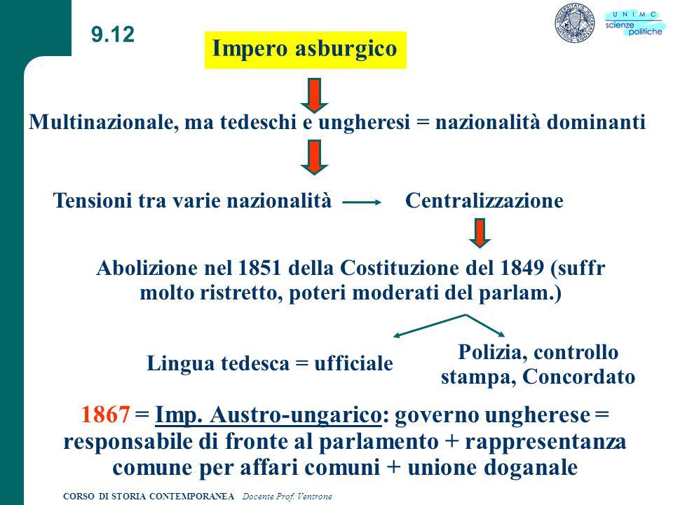 9.12 Impero asburgico. Multinazionale, ma tedeschi e ungheresi = nazionalità dominanti. Tensioni tra varie nazionalità.