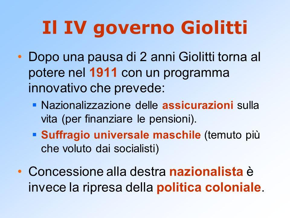 Il IV governo Giolitti Dopo una pausa di 2 anni Giolitti torna al potere nel 1911 con un programma innovativo che prevede: