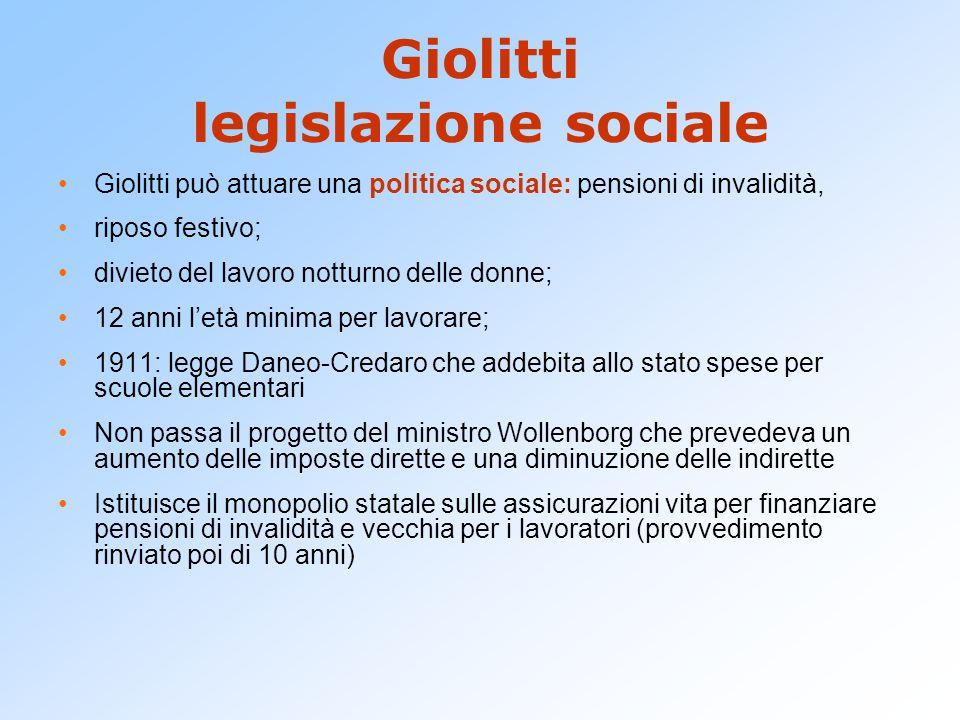 Giolitti legislazione sociale