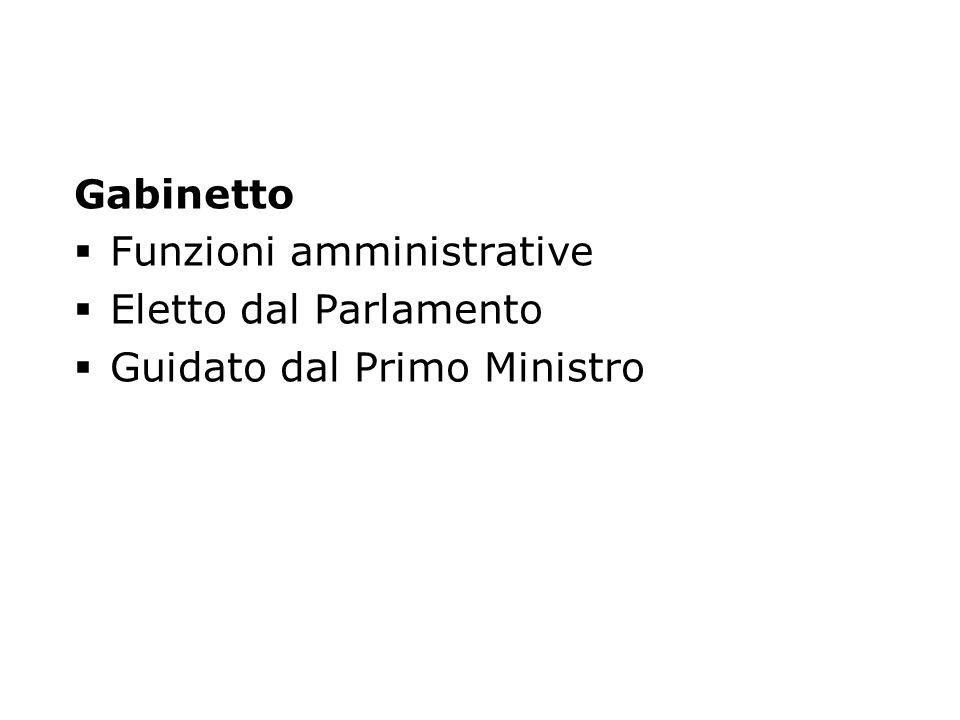 Gabinetto Funzioni amministrative Eletto dal Parlamento Guidato dal Primo Ministro