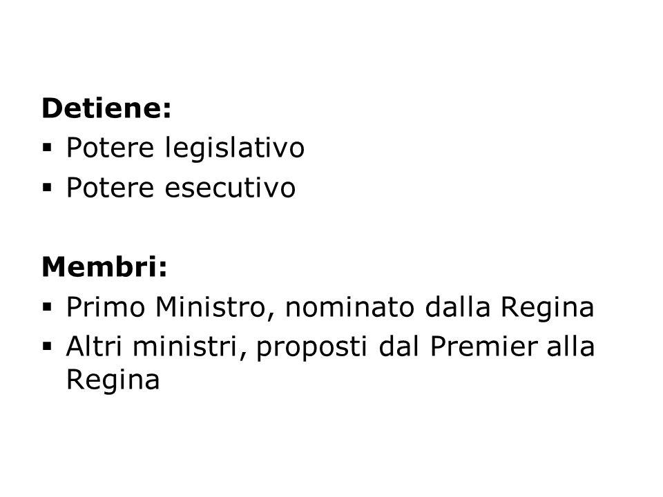 Detiene: Potere legislativo. Potere esecutivo. Membri: Primo Ministro, nominato dalla Regina.