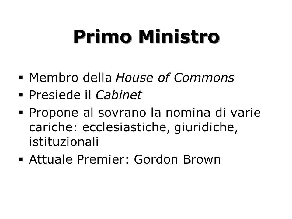 Primo Ministro Membro della House of Commons Presiede il Cabinet
