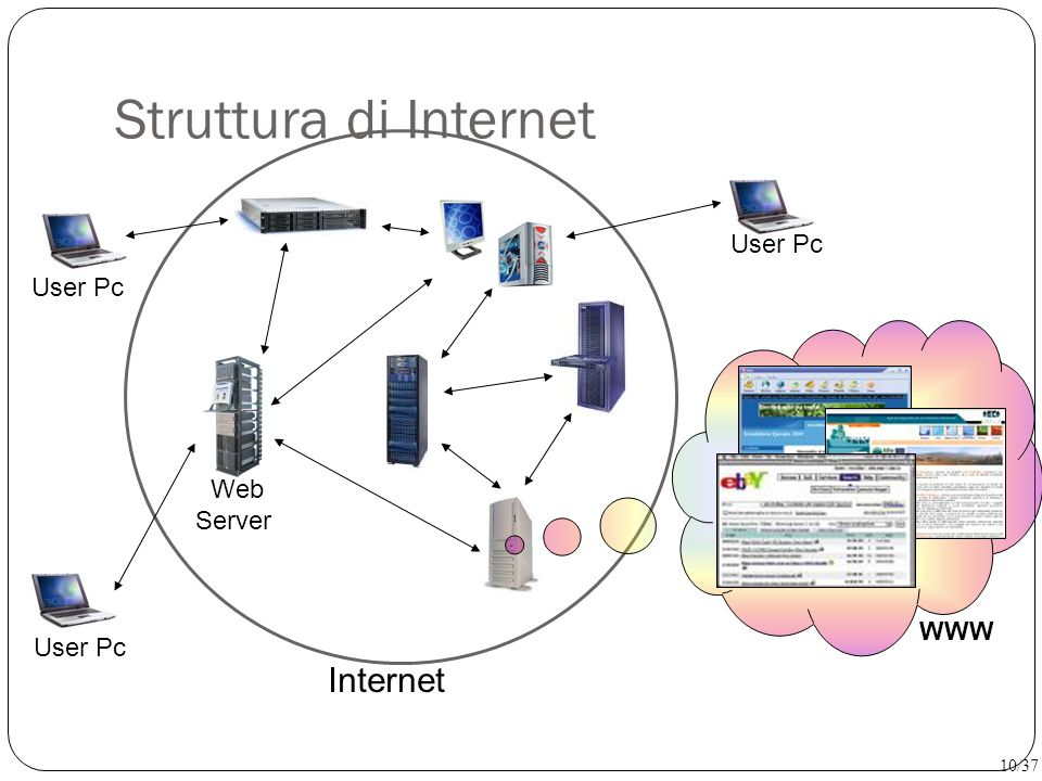 Struttura di Internet Internet User Pc Web Server WWW 10/37