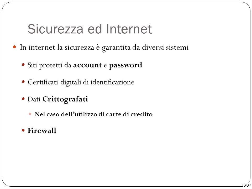 Sicurezza ed Internet In internet la sicurezza è garantita da diversi sistemi. Siti protetti da account e password.