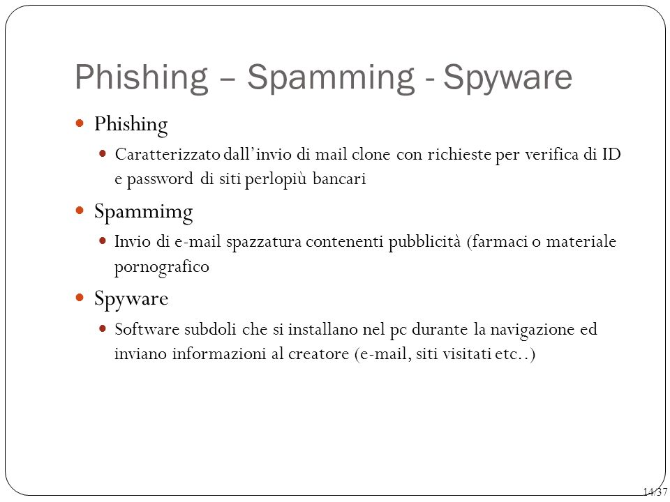 Phishing – Spamming - Spyware
