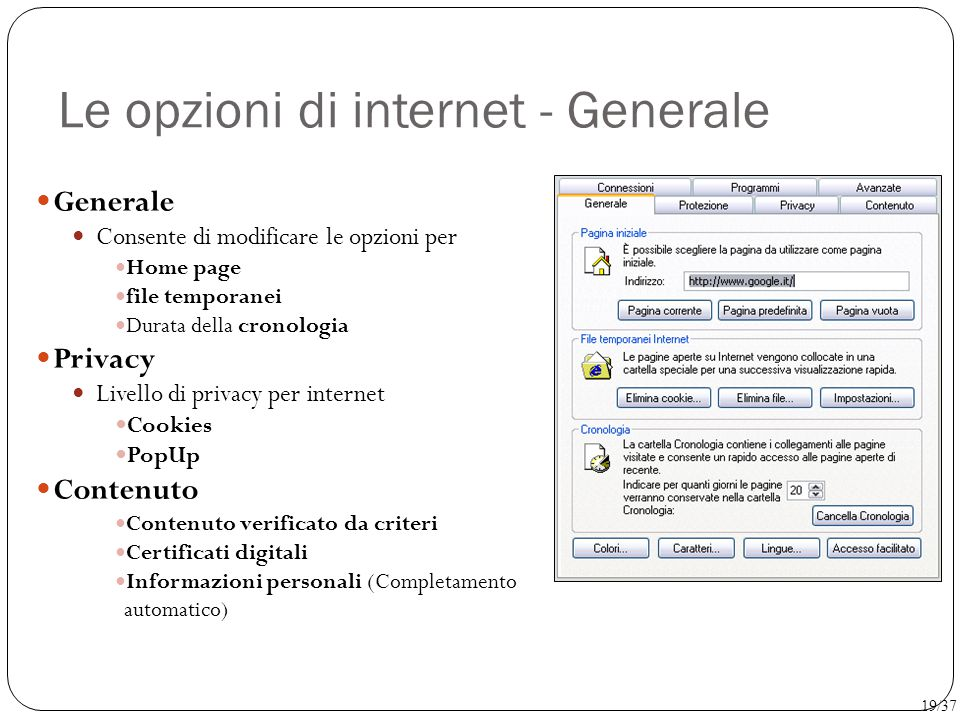 Le opzioni di internet - Generale