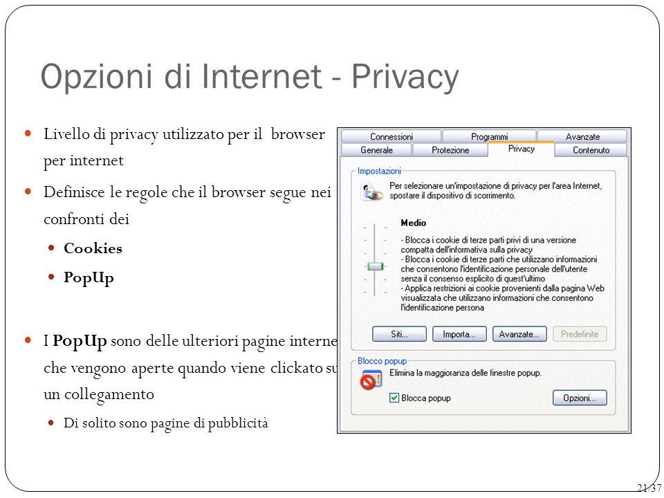 Opzioni di Internet - Privacy