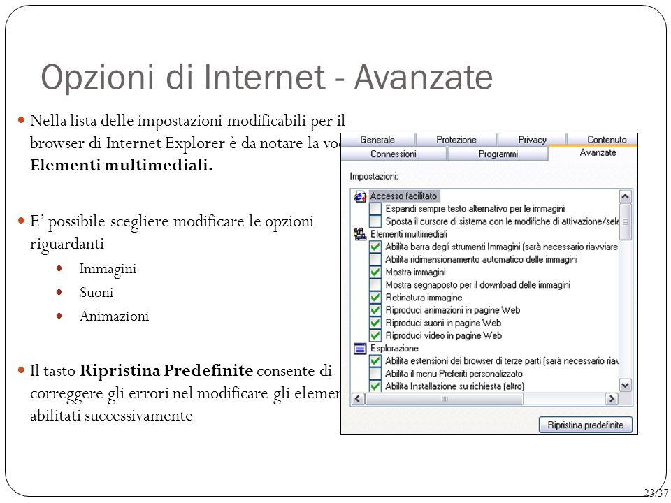 Opzioni di Internet - Avanzate
