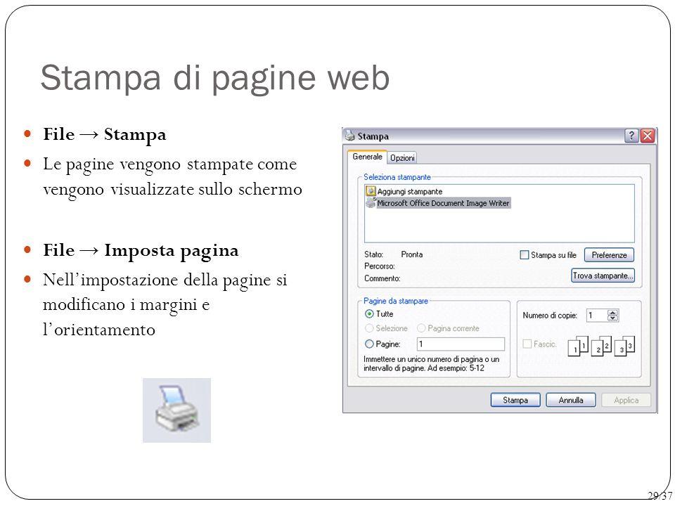 Stampa di pagine web File → Stampa