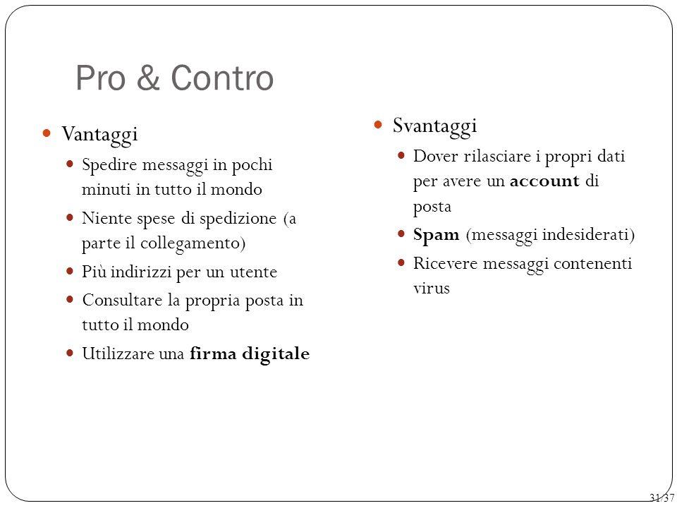 Pro & Contro Svantaggi Vantaggi