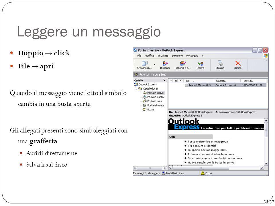 Leggere un messaggio Doppio → click File → apri