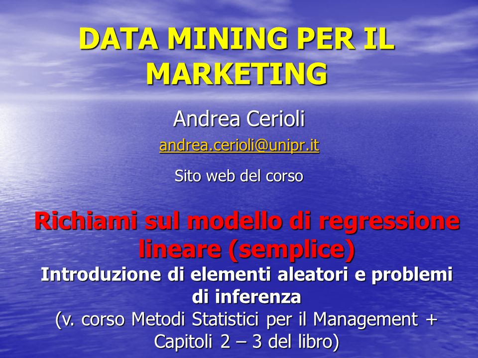 DATA MINING PER IL MARKETING