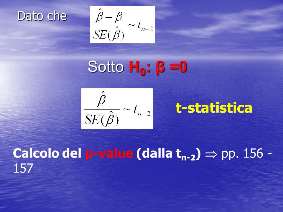 Sotto H0: β =0 t-statistica Dato che