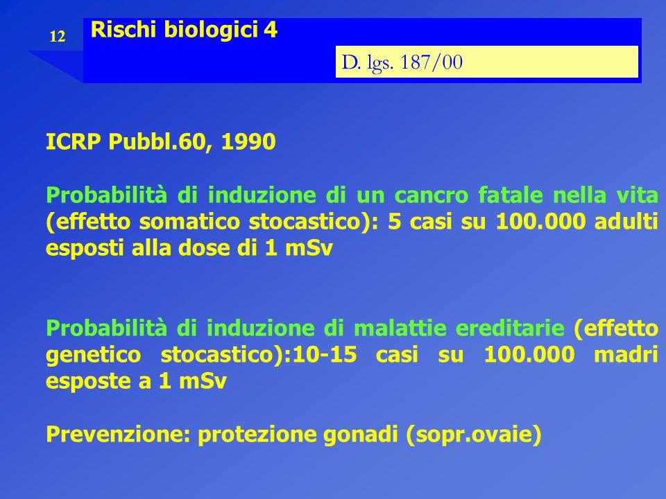 Rischi biologici 4 D. lgs. 187/00. ICRP Pubbl.60, 1990.