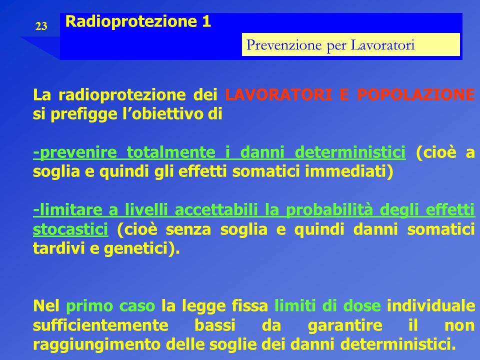 Radioprotezione 1 Prevenzione per Lavoratori. La radioprotezione dei LAVORATORI E POPOLAZIONE si prefigge l'obiettivo di.