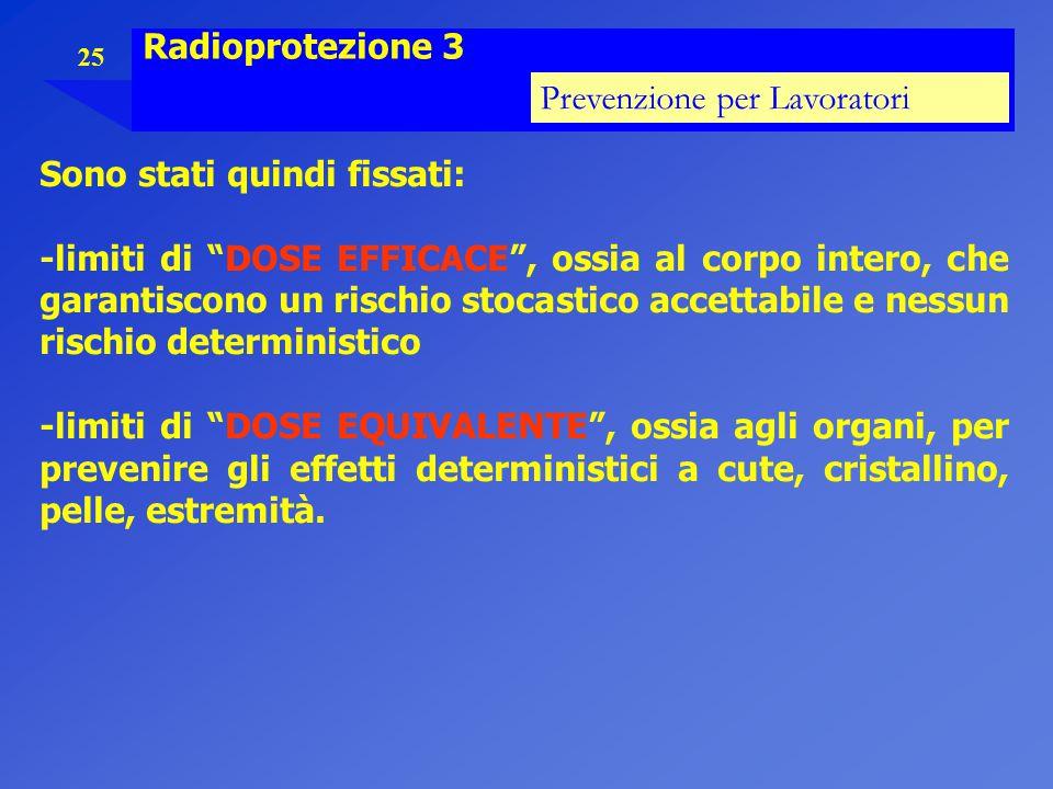 Radioprotezione 3 Prevenzione per Lavoratori. Sono stati quindi fissati: