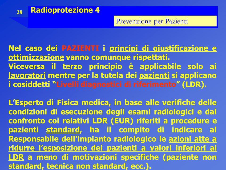 Radioprotezione 4 Prevenzione per Pazienti. Nel caso dei PAZIENTI i principi di giustificazione e ottimizzazione vanno comunque rispettati.