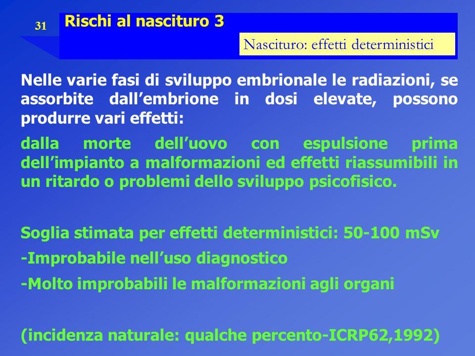 Rischi al nascituro 3 Nascituro: effetti deterministici.