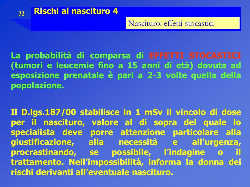Rischi al nascituro 4 Nascituro: effetti stocastici.