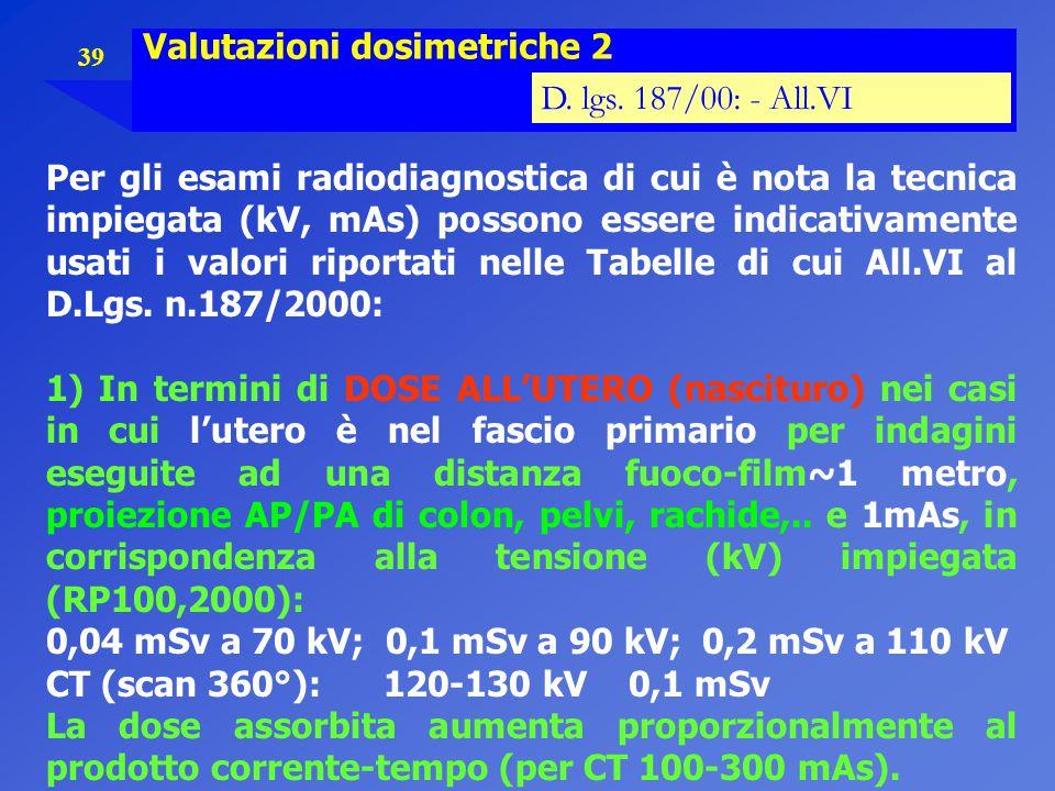 Valutazioni dosimetriche 2