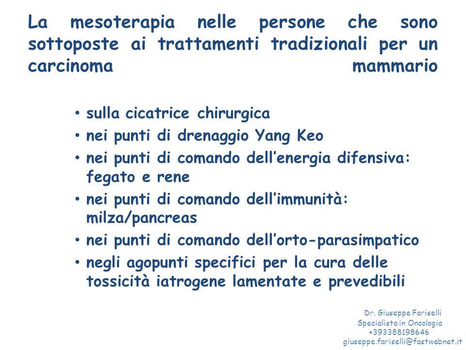 La mesoterapia nelle persone che sono sottoposte ai trattamenti tradizionali per un carcinoma mammario