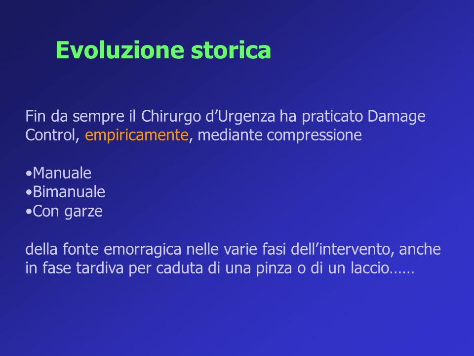 Evoluzione storica Fin da sempre il Chirurgo d'Urgenza ha praticato Damage Control, empiricamente, mediante compressione.
