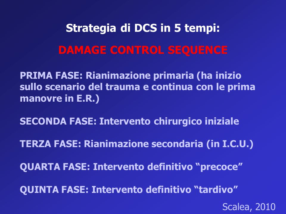 Strategia di DCS in 5 tempi: DAMAGE CONTROL SEQUENCE